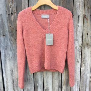 NWT Everlane The Teddy V Neck Sweater Coral XS